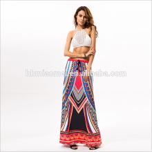 Tipo de fuente de servicio de OEM al por mayor de encargo al por mayor e impreso flor de Muti Colorido estilo indio nueva dama falda de mujer de moda