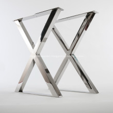 Polished Stainless Steel X Shape Table Legs Base
