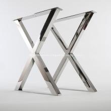 Base de patas de mesa pulida de acero inoxidable en forma de X