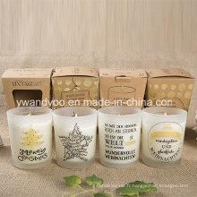 Bougie parfumée adaptée aux besoins du client de pot en verre pour la décoration