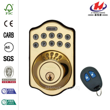 Electronic Keyless Deadbolt Lock with Remote Polished Brass
