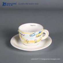 Tasse à café en céramique bon marché Tissu en porcelaine durable personnalisé Tasse et Sausers votre propre design