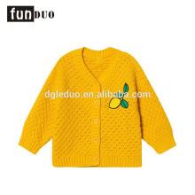 Enfant coton tricoté jaune veste casual citron chaud robe casual filles coton robes