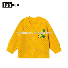 Ребенок хлопок вязаный желтый куртка повседневный теплый лимонный платье случайные девушки хлопка платья