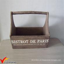 Antique Vintage rústico recyled colgante de madera de almacenamiento de la cesta con las manijas