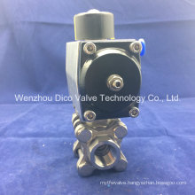 Pneumatic Actuator Three Pieces Thread Ball Valve in Carbon Steel