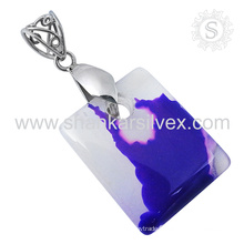 Fermentative silver pendant designer chalcedony gemstone 925 sterling silver handmade jewelry exporters