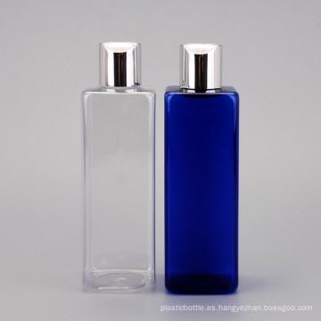 Botella cuadrada cosmética del animal doméstico de alta calidad 250ml / botella de aluminio del casquillo del top del disco de la cubierta