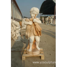 Western Life Size Colored Stone Children Statue
