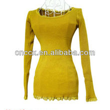 13STC5044 women knitted sweater with lace tunic sweater