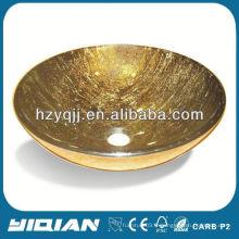 Évier en verre doré pour salle de bain en gros en Chine Évier de verre