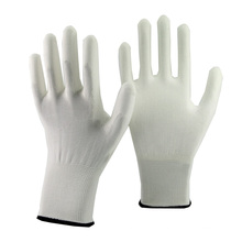 NMSAFETY 13 gauge knitted liner coated white pu gloves for sale