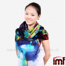 Finest worsted wool shawl dark color fresh floral printed scarf