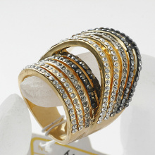 Vintage clear and black Rhinestone Gold Plated Fashion Ring top quality Crystal Elements Full Sizes rings Wholesale