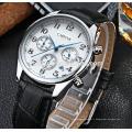 Boîtier en acier inoxydable de mouvement original de haute qualité du Japon et montres en cuir véritable de bracelet pour l'homme