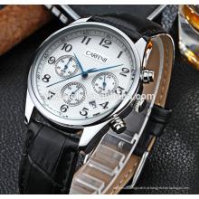 alta qualidade original japão movimento caixa de aço inoxidável e pulseira de couro genuíno relógios para homem