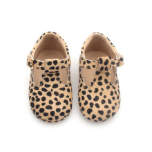 Leopardo extravagante T-bar Mary Jane sapatos de bebê