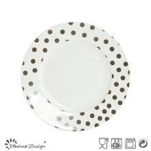 Porcelaine blanche de 7.5inch avec la plaque de salade de décalque de DOT