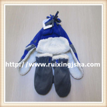 Teenager Earflap Fleece Hat and Gloves Set
