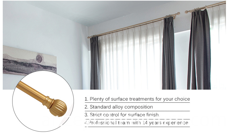 Aluminum Curtain Rod Electrophoresis Gold Color