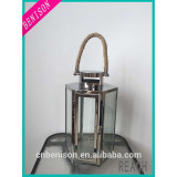 Hot Cheap Stainless Steel Candle Lantern with Hemp Rope Handle