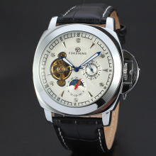 Alloy Case Genuine Leather Mens Aotumatic Watch