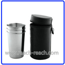 Stainless Steel Cup/Shot Glass Match Hip Flask Sets (R-HF053)