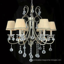 Classic Zhongshan Crystal Chandelier Light With Fabric Lampshade