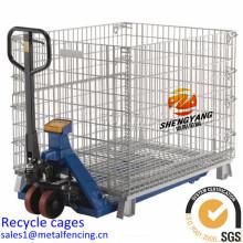 L'entrepôt extérieur de paniers d'exposition a appliqué des cages de stockage pliables économisant l'espace cages de recyclage de maille d'acier
