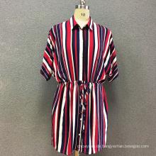 Damenkleid aus Viskose-Streifen mit langen Ärmeln