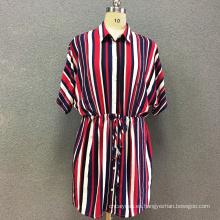 Vestido de manga larga con estampado de rayas de viscosa para mujer.