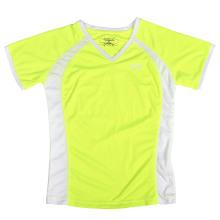 Das neongelbe T-Shirt der neuen kundenspezifischen Dame