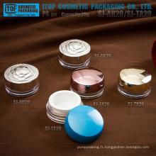 Design innovant bel séduisante double couches plate 20ml rond plastique élégant COSMETIQUE crème