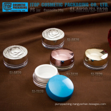 Innovative design beautiful attractive double layers 20ml flat round elegant cosmetic cream container plastic