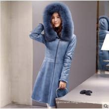 Lady′s Hooded Shearling and Lamb Leather Coat Long Style