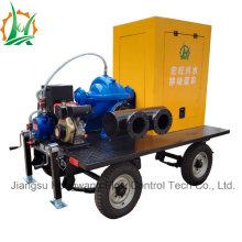 Bomba de riego de succión doble asistida por vacío montada en remolque diesel