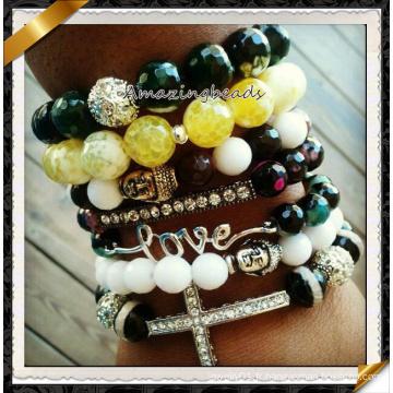 Vente en gros de bijoux à la mode Bracelet en perles de pierre naturelle en agate (CB070)