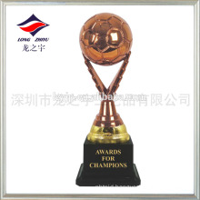 Design trademark on football trophy the bronze soccer trophy