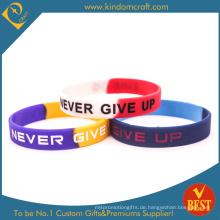 Kundenspezifisches Logo-bedrucktes Silikon-Armband oder Armband für Geschäft oder Tätigkeit förderndes Geschenk