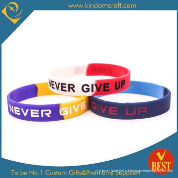 Logo personnalisé Bracelet ou bracelet en silicone imprimé pour cadeau professionnel ou promotionnel