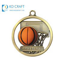 Made in china high quality custom metal brass 3d circle shaped hollow out sport basketball medal