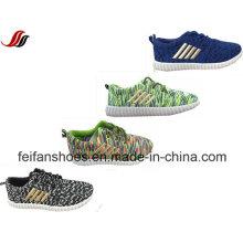 2016 нашивки Холстины сетки инъекции спортивная обувь, Детская зашнуровать Повседневная обувь