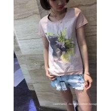 Sommermode Blume gedruckt Kurzarm T-Shirt Kleidung