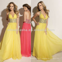 NY-2351 Beaded halter with deep V-neckline quinceanera dress