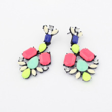 new jewelry fashion black plated resin flower long earrings women female acrylic metal drop earrings