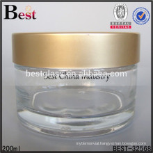 200ml cosmetic glass jar with LOGO printed golden cap, high quality empty clear jar for sale, free sample, alibaba