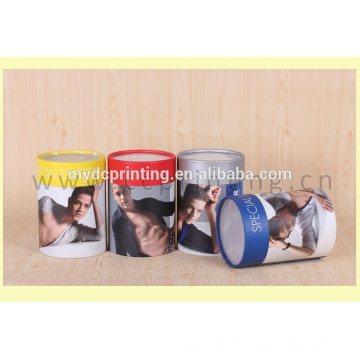 Handmade small cylinder cardboard gift boxes with clear lid