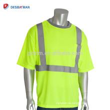 2018 Hi-Vis-Zitrone-Sicherheitst-shirt Beste Neongelb-Polyester-Ineinander greifen-Kurzschluss-Hülse 100% kühle reflektierende T-Stücke mit 1 Kasten-Tasche