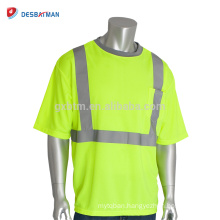 2018 Hi-Vis Lemon Security T Shirt Best Neon Yellow 100% Polyester Mesh Short Sleeve Cool Reflective Tees With 1 Chest Pocket