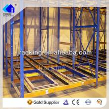 Equipo de almacén mecánico, estantes de acero de estantes almacenes de estantes de alambre empujar hacia atrás el estante